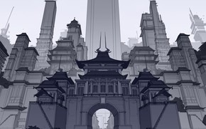 Picture China, Fantasy, Art, Skyscrapers, Architecture, Line Art, by George Brad, George Brad, Ancient Chinese Skyscrapers