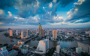 Picture the sky, clouds, bridge, the city, river, building, panorama, Thailand, Thailand, Bangkok