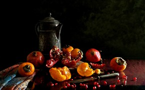 Wallpaper still life, garnet, persimmon