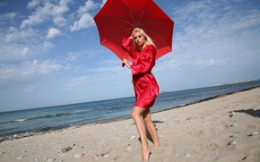 Picture waves, red, beach, sky, ocean, nature, umbrella, clouds, rocks, sand, stones, outside, sexy woman, Terri, …