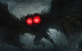 Picture fear, monster, horror, evil, burning eyes, in the dark, black wings, nightmare, Mofman, Mothman, Человек …
