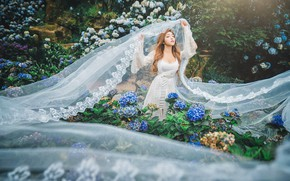 Picture girl, flowers, nature, garden, fabric, Asian, the bride, white dress, veil, hydrangea, tulle, closed eyes, …