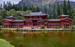 Picture forest, clouds, trees, mountains, river, rocks, Hawaii, temple, Oahu, Byodo-In Temple