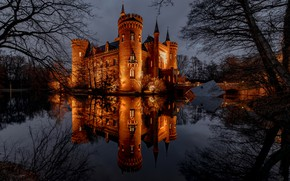 Wallpaper the sky, water, trees, lights, pond, Park, reflection, castle, the evening