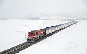 Picture winter, snow, train, TCDD, Türkiye Cumhuriyeti Devlet Demiryolları