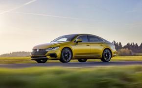 Picture yellow, movement, Volkswagen, 2018, R-Line, liftback, Arteon, 2019