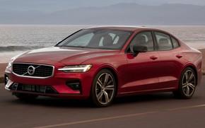 Picture road, sea, car, machine, Volvo, red, sedan, red, side, R-Design, Volvo S60, Volvo S60 R-Design