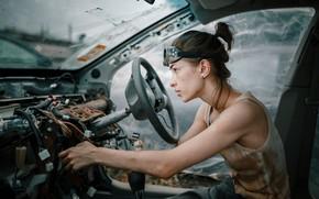 Picture auto, girl, freckles, repair, salon, Andrey Vasilyev, Elizabeth Mills