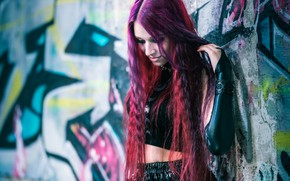 Picture girl, face, style, background, wall, hair, color
