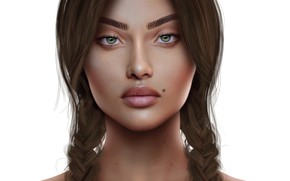 Picture mole, portrait, girl, braids