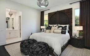 Picture room, furniture, Windows, bed, mirror, chandelier, bedroom