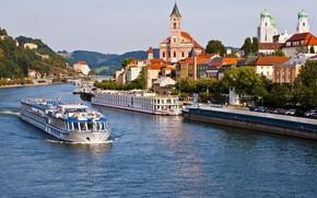 Picture the city, river, tower, Germany, Bayern, The Danube, Passau, Собор Святого Штефана