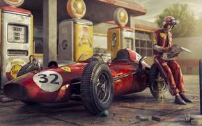 Picture Retro, People, Machine, Racer, Ferrari, Car, Dressing, The car, Champion, Cup, F-1, Rendering, Rendering, Retro, …