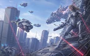 Picture armor, cyberpunk, digital art, artwork, fantasy art, cyborg, futuristic
