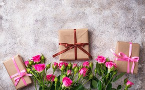 Picture tape, background, roses, bouquet, gifts, composition