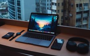 Picture headphones, window, notebook, watches, desk, smartphone