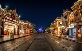 Picture street, Disneyland, night lights