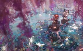 Picture spring, flowering trees, pixiv fantasia, two girls, manha utsutsuki