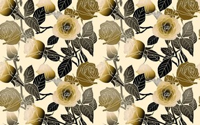 Picture flowers, yellow, background, black, roses, texture, buds