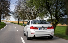 Picture white, trees, BMW, sedan, rear view, hybrid, 5, four-door, 2017, 5-series, G30, 530e iPerformance