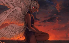 Picture Sunset, Girl, Figure, Angel, Girl, Wings, Art, Art, Sunset, Angel, Wings, Figure, Halo, Nimbus, by …