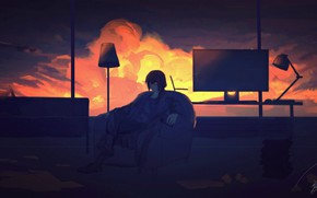 Picture sunset, room, guy, smartphone