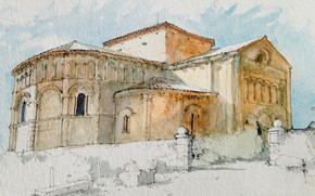 Picture landscape, figure, France, the building, watercolor, the Catholic Church, Talmont-sur-Gironde