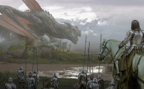 Picture river, wings, mouth, rider, knight, peaks, squad, hats, giant, castle, the gray sky, cloudy weather, …
