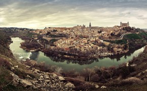 Picture the sky, clouds, trees, landscape, river, stones, home, canyon, Spain, Toledo, the view from the …