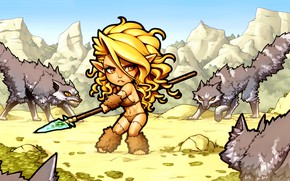 Picture look, girl, mountains, fiction, elf, wolf, pack, art, spear