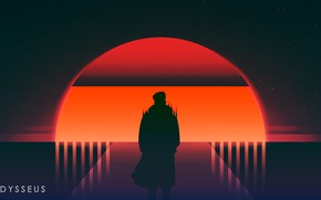 Picture Sunset, The sun, Music, People, Star, Silhouette, Neon, Odysseus, Immortal, Synth, Retrowave, Synthwave, New Retro …