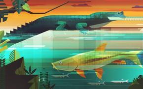 Picture Fish, Minimalism, Fish, Style, Crocodile, Animals, Art, Art, Style, Digital, Alligator, Illustration, Minimalism, illustration, Animals, …