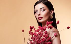 Picture look, girl, flowers, face, portrait, bouquet, makeup, Elena Rossi