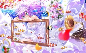 Picture girl, flowers, frame, Azur Lane
