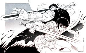 Picture sword, anime, Berserk, manga, berserker, Black Swordsman, Guts, Dragon Slayer, Casca, The Black Witch