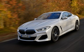 Picture white, foliage, coupe, BMW, roadside, 2018, 8-Series, Eight, G15, 840d xDrive M Sport