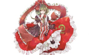 Picture Ruski, bow, red dress, green hair, ruffles, Kagiyama Hina, Touhou Project, Project East, a finger …