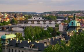 Wallpaper river, Prague, Czech Republic, bridges