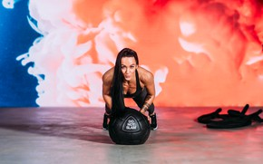 Picture brunette, look, ball, workout, fitness, Jake Farra