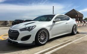 Picture car, machine, the sky, tuning, wheels, Hyundai, side, tuning, wheel, parking, white car, coupe, Hyundai …
