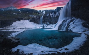 Picture sunset, mountains, rock, river, waterfall, ice, Iceland, Iceland, Skutafoss, Водопад Скутафосс