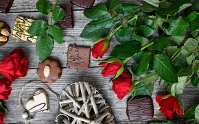 Picture roses, candy, red, dessert, wood, sweet, composition, chocolate, roses