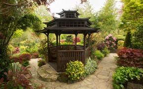 Picture trees, flowers, Park, England, garden, gazebo, the bushes, Walsall Garden