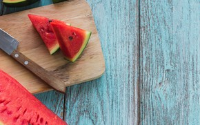 Picture Watermelon, knife, Board, slices