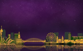 Wallpaper The sky, Minimalism, Night, The city, Sydney, Art, Digital, Sydney, Illustration, Game Art, by Caio ...