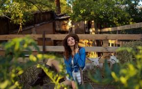 Picture girl, legs, goats, the farm, Eugene Pyatnitskaya