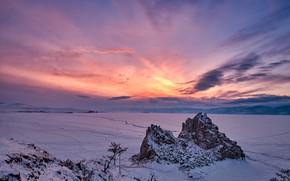 Picture winter, the sky, snow, mountains, lake, Baikal, frost, Константин Леонтьев