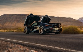 Picture road, mountains, black, sports car, rear view, doors, McLaren 720S