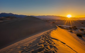 Picture sand, the sky, the sun, rays, desert, dunes