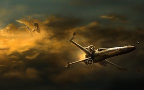 Picture The sky, Figure, Star Wars, Battle, Art, Dogfight, Science Fiction, X-wing, TIE Fighter, Reha Sakar, …